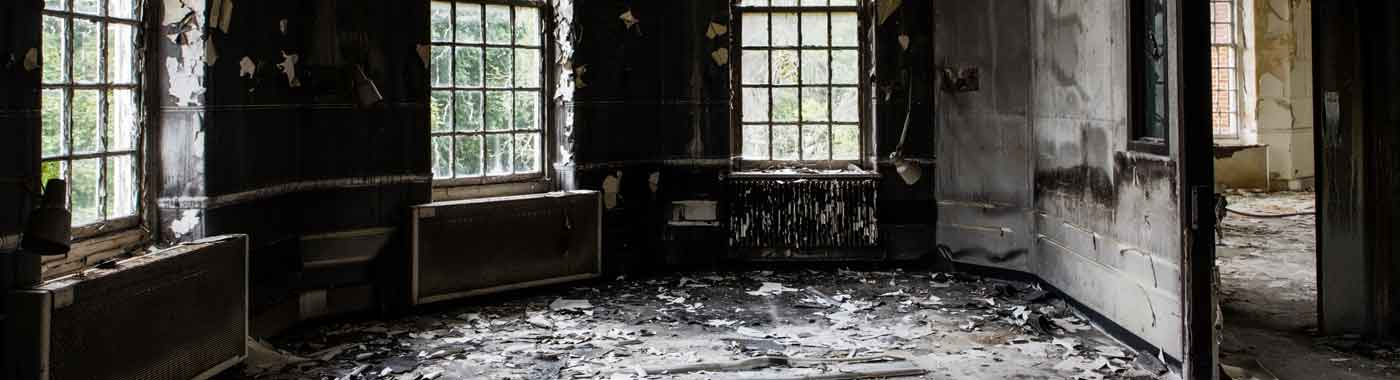 Fire damage to a room