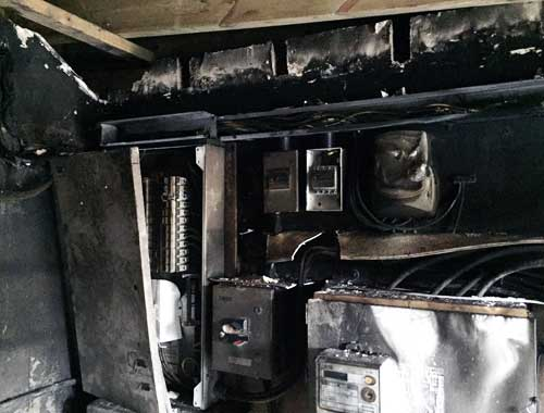 Fire damage to kitchen